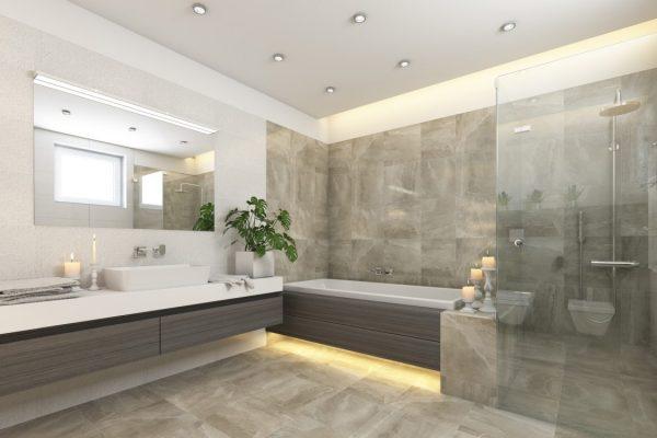 łazienka z blatami kamiennymi w Białymstoku