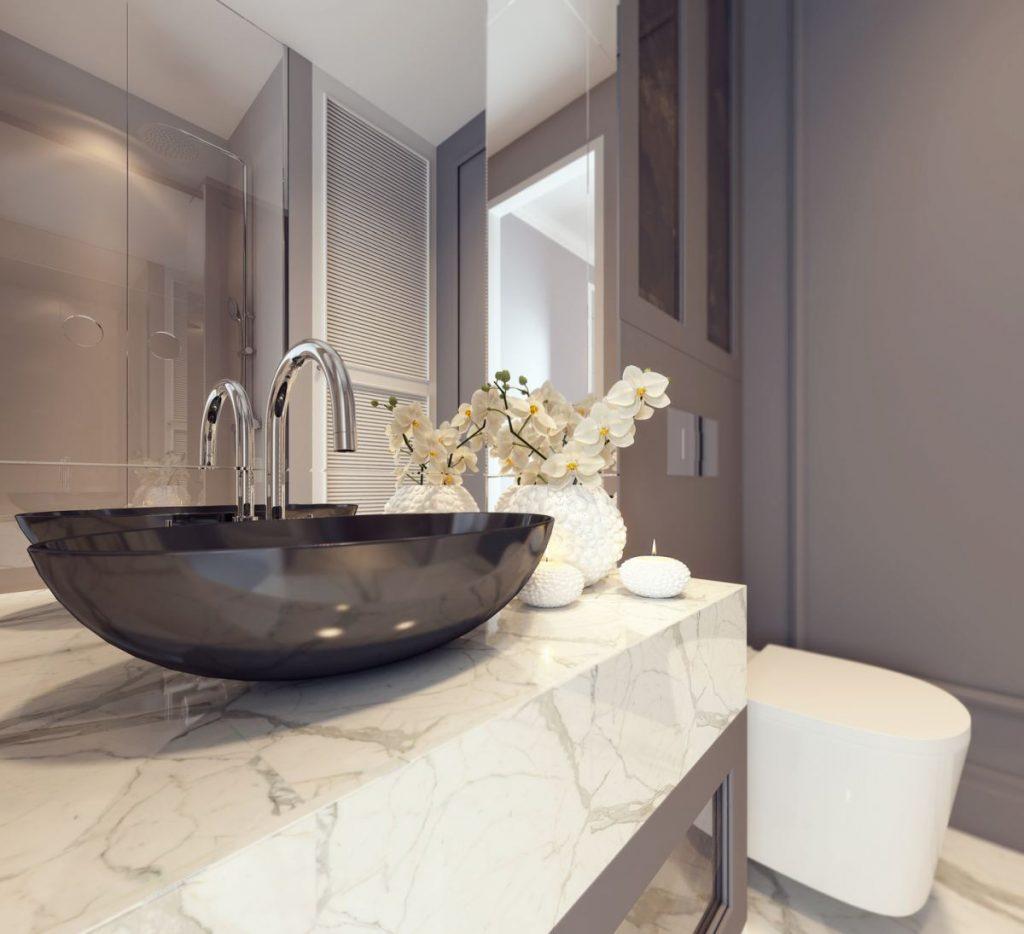 blat kamienny w łazience